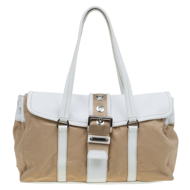 a2d83b26ec352a Buy Prada Beige/White Nylon and Leather Satchel 82821 at best price | TLC