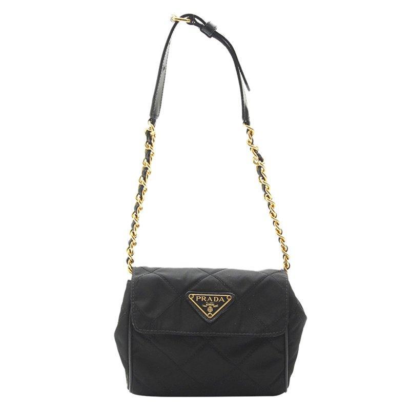 8bdac146c93e ... Prada Black Quilted Tessuto Nylon Shoulder Bag. nextprev. prevnext