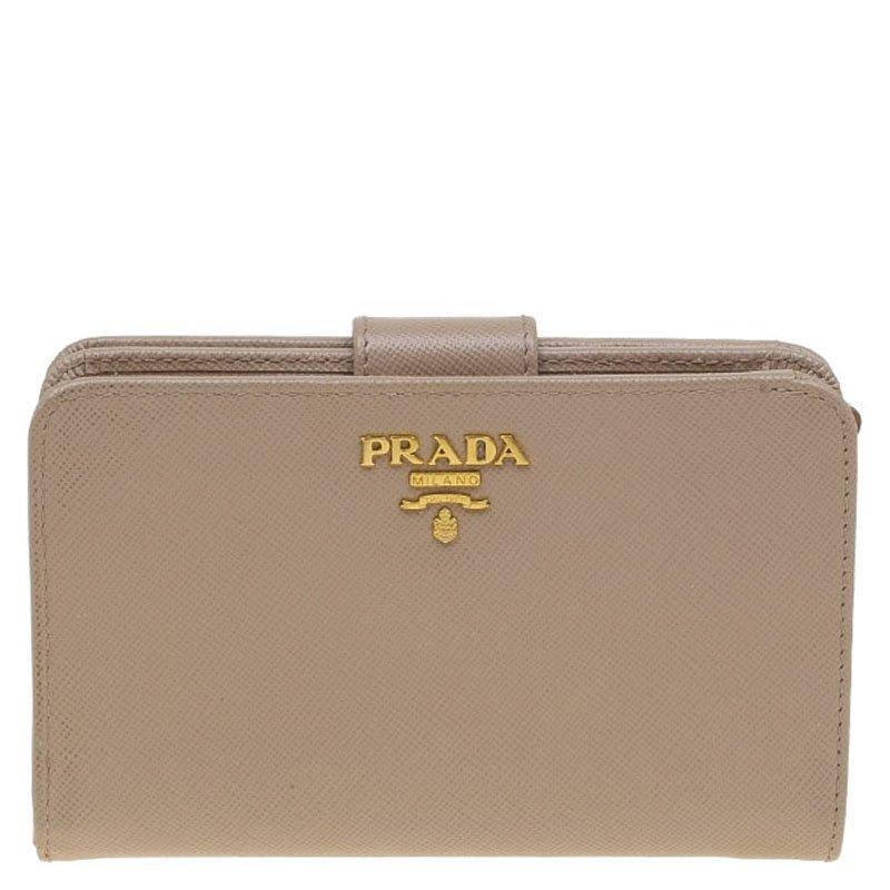 0be54a630c15 ... Prada Latte Saffiano Leather Zip Around Compact Wallet. nextprev.  prevnext