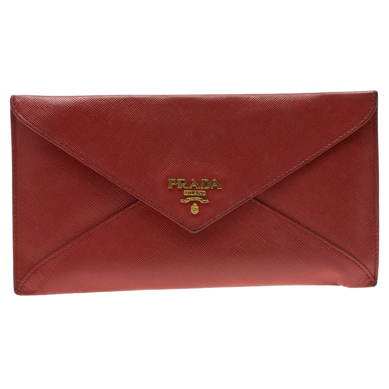 8108902ec865 Buy Prada Red Saffiano Leather Envelope Wallet 87100 at best price | TLC