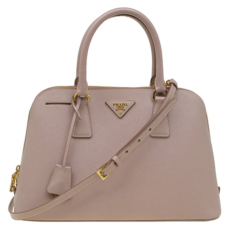 7a406bb7b5c6 Buy Prada Nude Saffiano Lux Leather Medium Promenade Top Handle Bag 87219  at best price