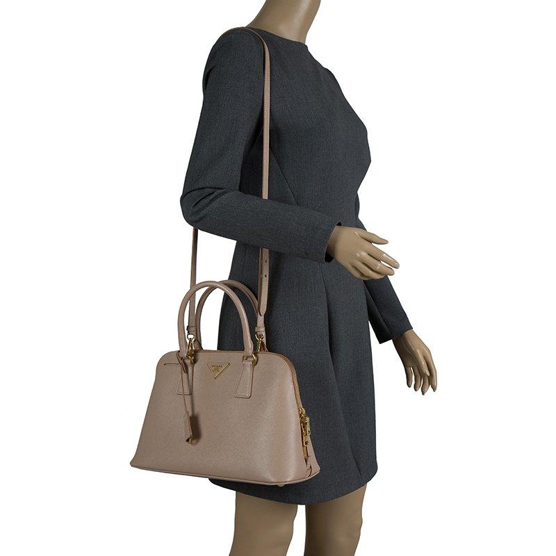 d877d419 Prada Nude Saffiano Lux Leather Medium Promenade Top Handle Bag