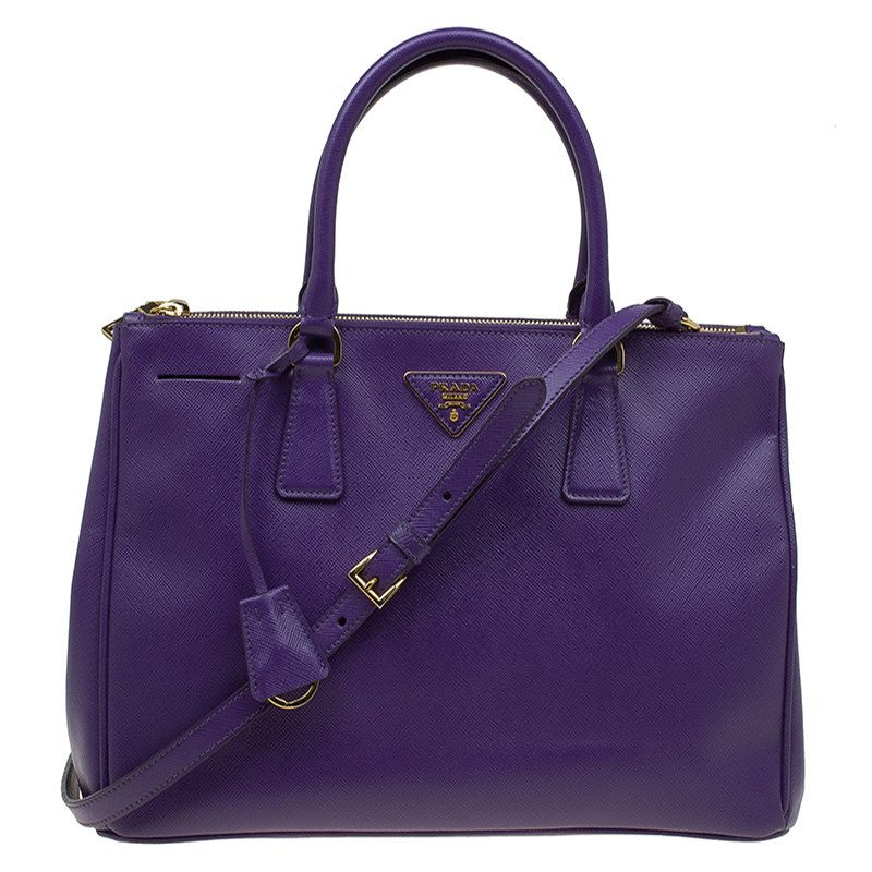 8f0005f6eaee Buy Prada Purple Saffiano Lux Leather Double Zip Tote 89042 at best ...