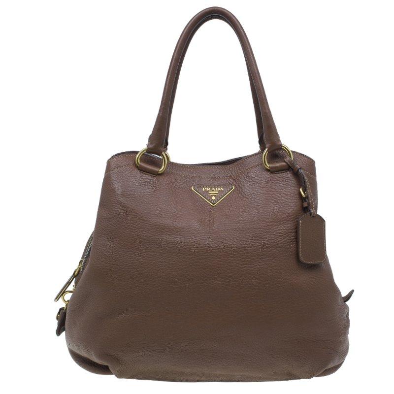 55267b29220c Buy Prada Cocoa Brown Vitello Daino Double Zipped Satchel 91 at best ...