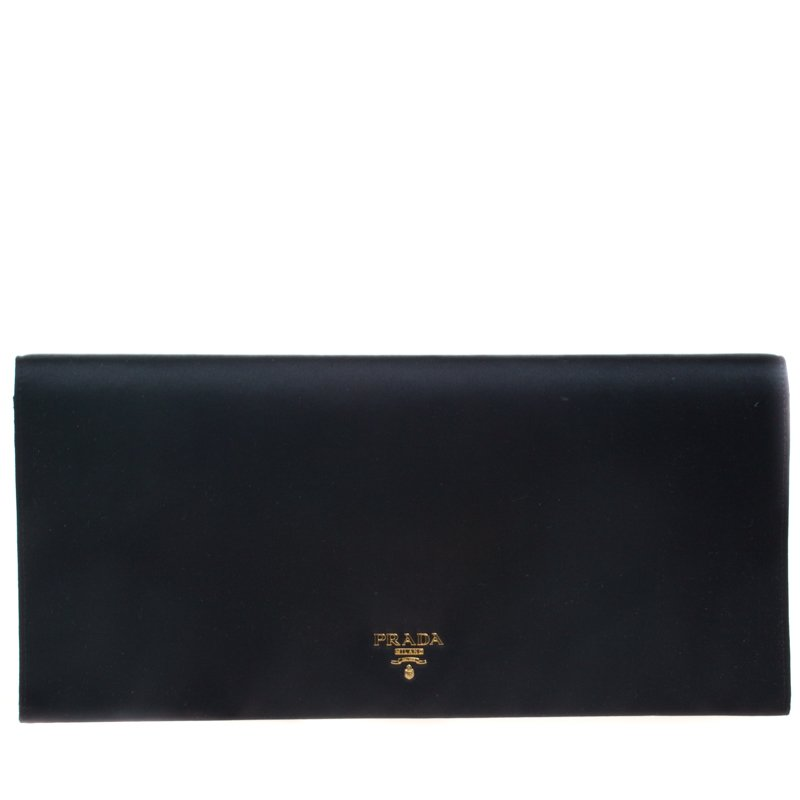 614276061b262 Prada Black Satin Oversize Clutch