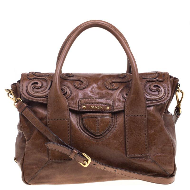 34b2223a57b3 Buy Prada Brown Glazed Leather Top Handle Bag 93000 at best price