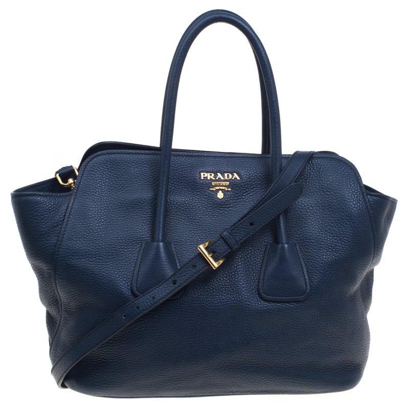 45b32255ab66 Buy Prada Navy Blue Vitello Daino Leather Tote 93169 at best price