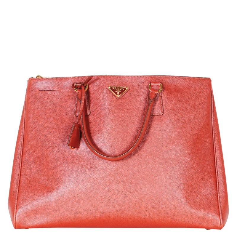 4d3498cbe28b ... Prada Cognac Saffiano Lux Leather Large Double Zip Tote. nextprev.  prevnext