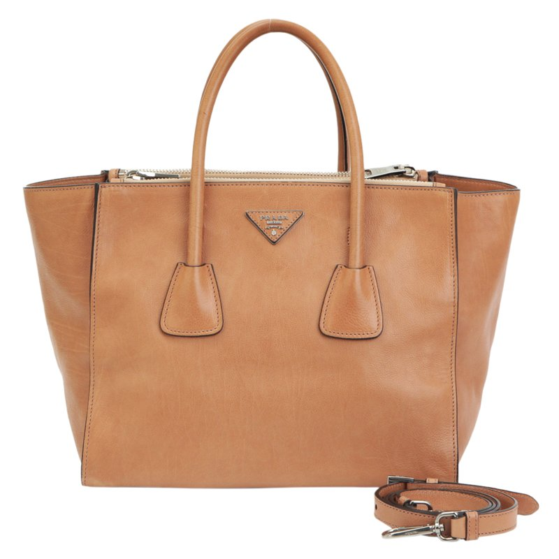 Prada Brown Glace Calf Leather Twin Pocket Double Handle Tote