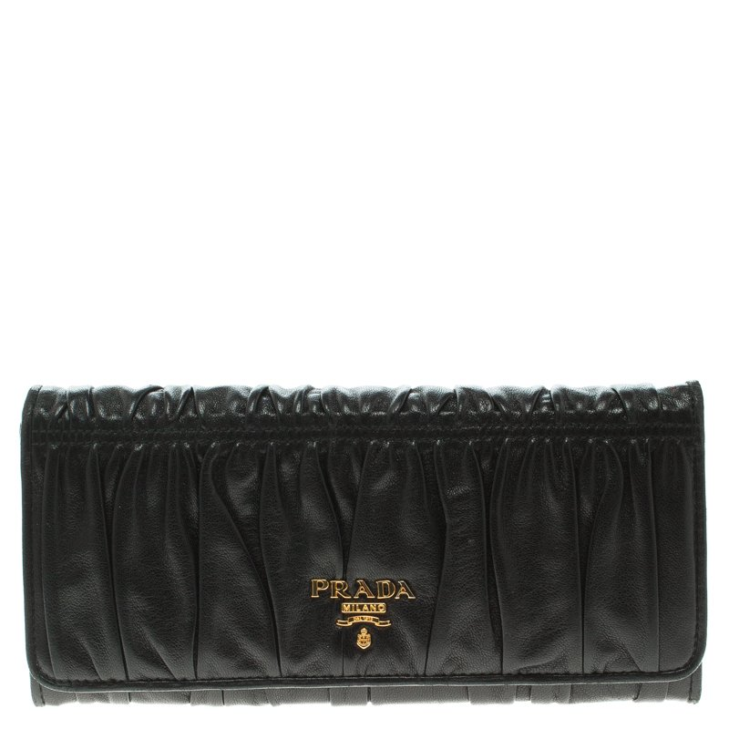 f0c25d5d5c24 Buy Prada Black Gaufre Nappa Leather Continental Wallet 96757 at ...
