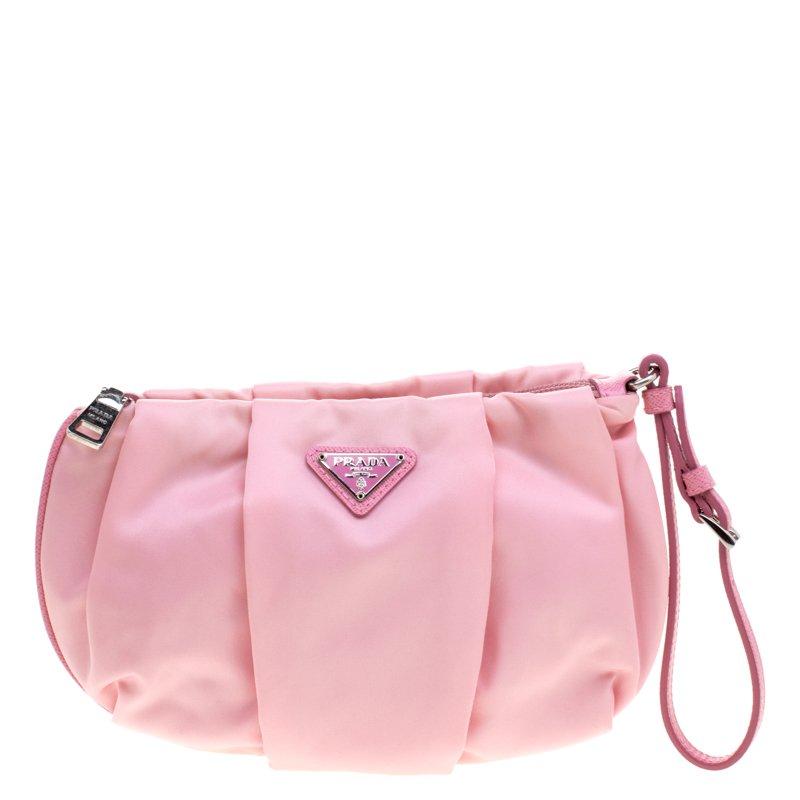 740410b522 Prada Blush Pink Nylon Wristlet Clutch