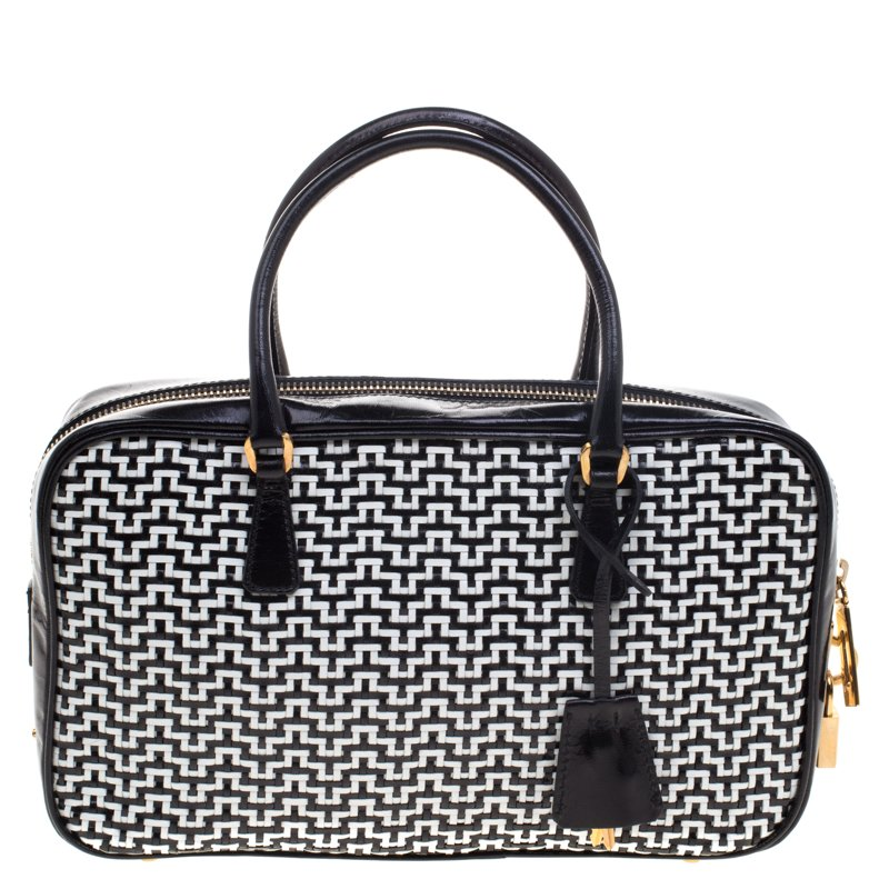 Prada Black White Woven Leather Bowler Bag Nextprev Prevnext