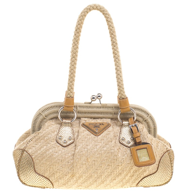 44e470eb620b Buy Prada Beige Gold Jute and Snakeskin Frame Satchel 97422 at best ...