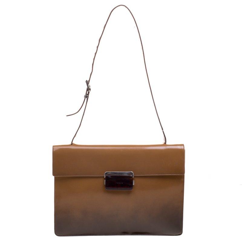 af3bd48d4855 ... Prada Brown Ombre Patent Leather Shoulder Bag. nextprev. prevnext