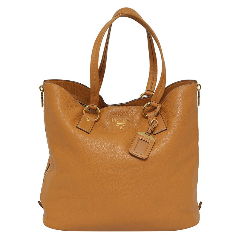 54ea99e1a33138 ... Prada Tan Vitello Daino Leather Side Zip Tote. nextprev. prevnext