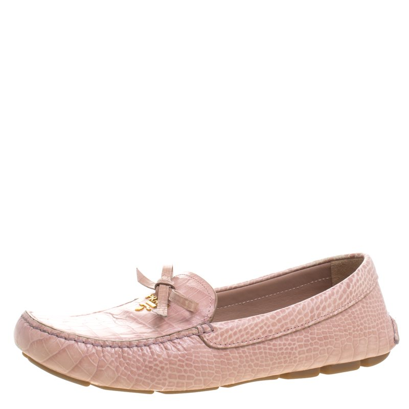 74f7507f474db Prada Blush Pink Alligator Embossed Leather Bow Loafers Size 40