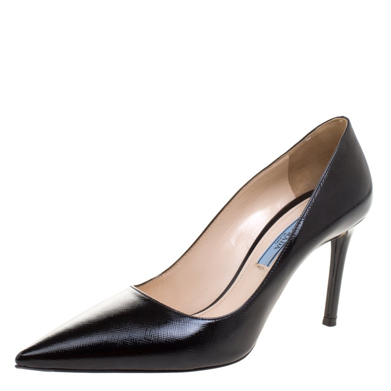 437a3a58d8 ... Prada Black Patent Saffiano Leather Pointed Toe Pumps Size 38.  nextprev. prevnext