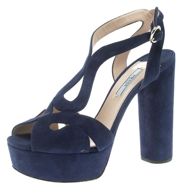 4bcf413c407a Buy Prada Blue Cutout Suede Block Heel Ankle Strap Platform Sandals Size  39.5 109713 at best price