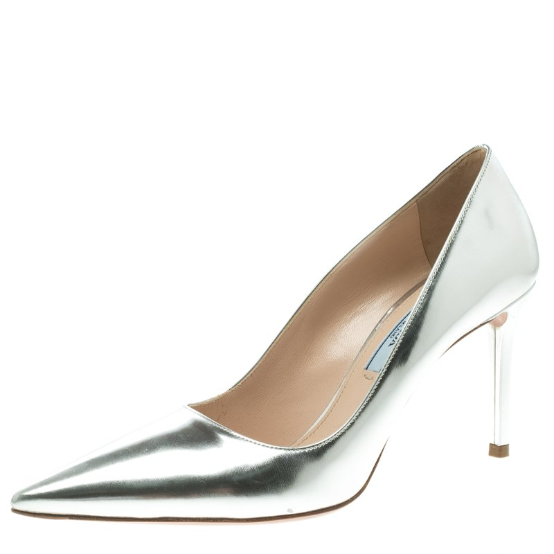 d6863882770c Buy Prada Silver Metallic Leather Pointed Toe Pumps Size 37 109977 ...