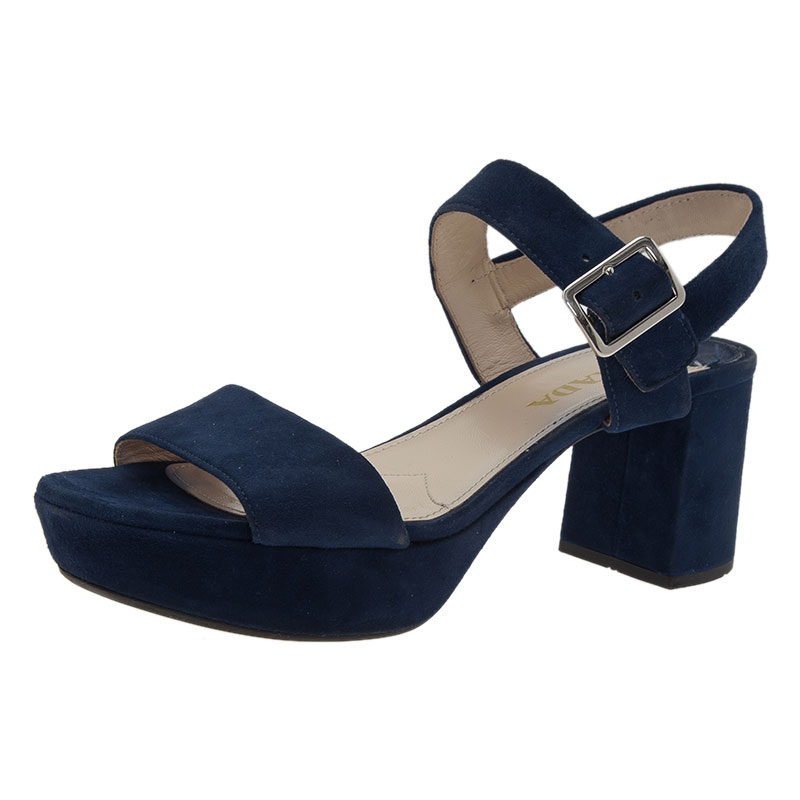 e9e4d7bab3f Buy Prada Blue Suede Two Strap Block Heel Sandals Size 36 43391 at ...
