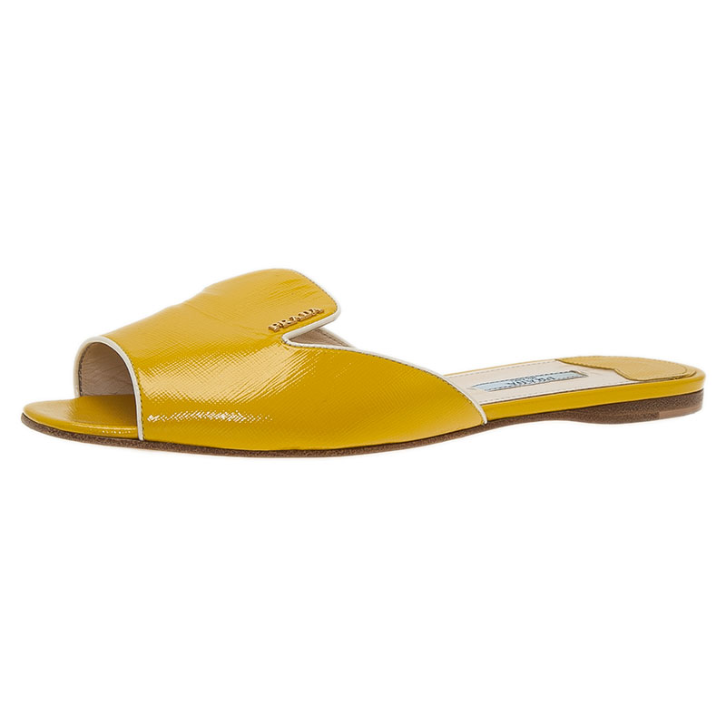 a780a60fde6e ... Prada Yellow Saffiano Leather Flat Slides Size 39. nextprev. prevnext