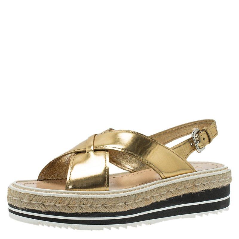 0839b069f909 ... Prada Gold Leather Crisscross Platform Espadrille Sandals Size 39.5.  nextprev. prevnext