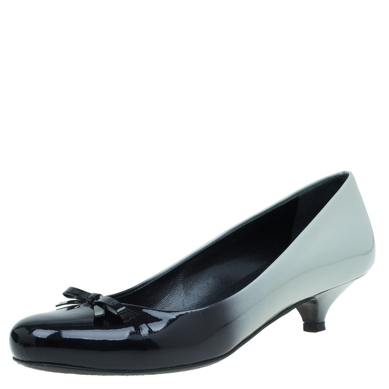 Prada Two Tone Ombre Patent Bow Detail Pumps Size 37