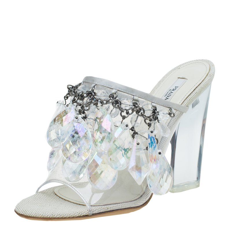 3137719b40e56d Buy Prada Grey Satin and PVC Plex Crystal Chandelier Mules Size 38 ...