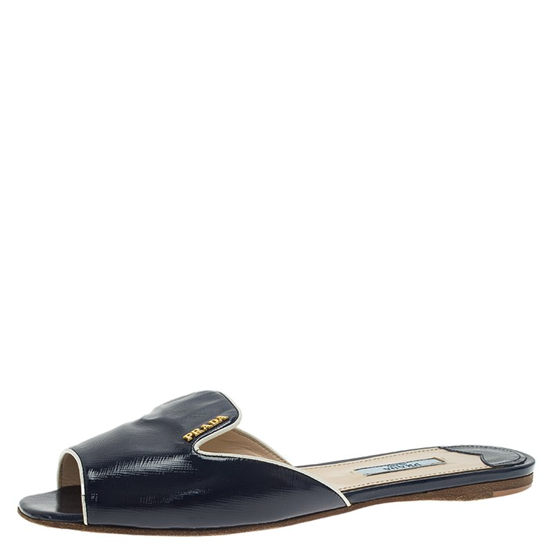 ee2d1954d79a Buy Prada Navy Blue Saffiano Leather Flat Slides Size 37.5 59423 at ...