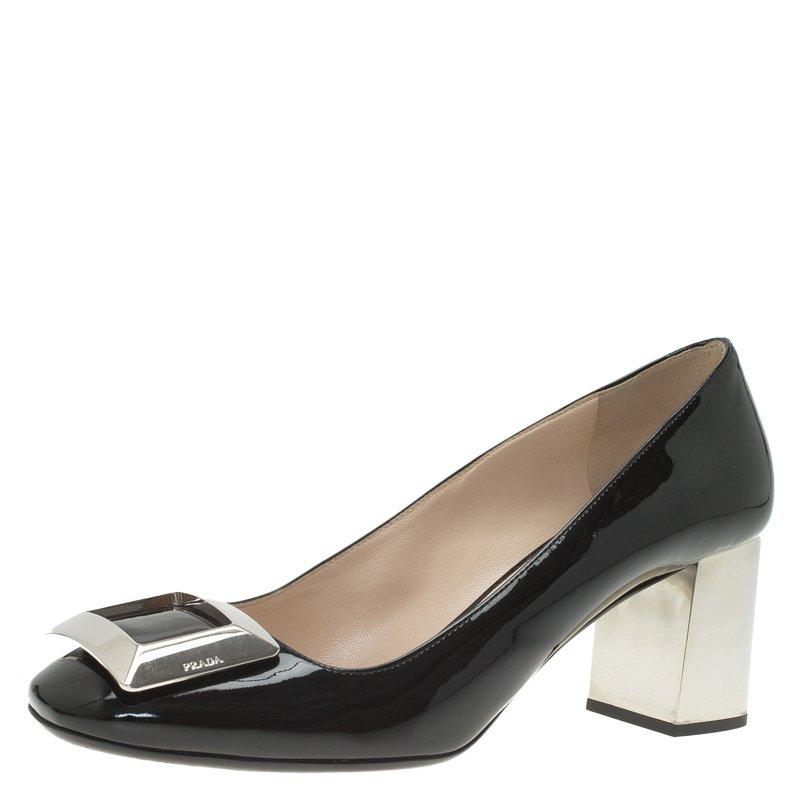 5bcdccbebf ... Prada Black Patent Leather Buckle Block Heel Pumps Size 38.5. nextprev.  prevnext