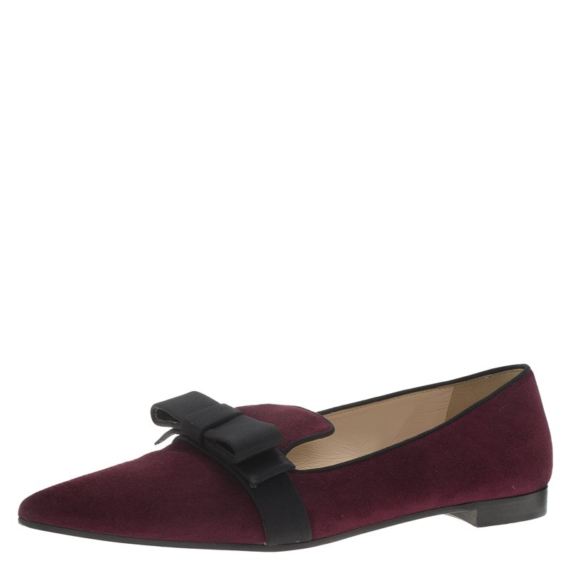 b86f682f9 ... Prada Burgundy Suede Pointed Bow Ballet Flats Size 37. nextprev.  prevnext