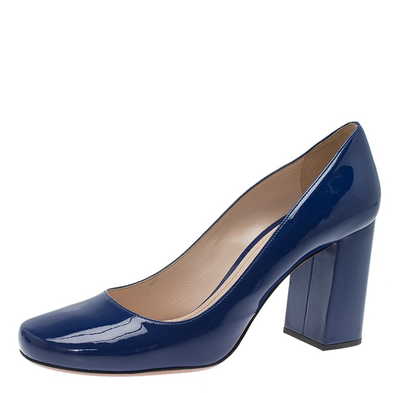 Buy Prada Navy Blue Patent Square Toe Block Heel Pumps Size 40.5 ...
