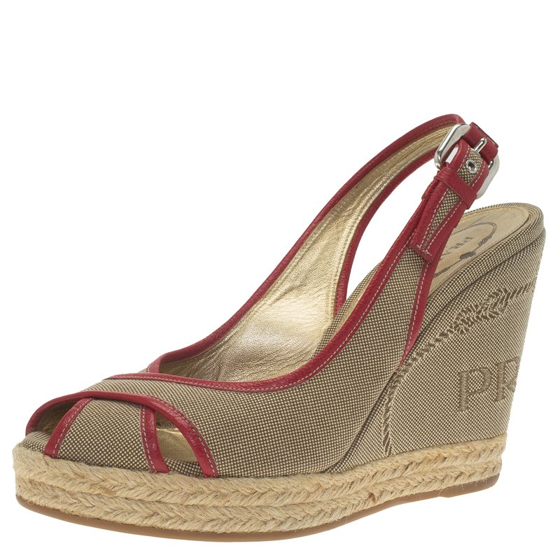 48582cf29ba Prada Brown and Red Canvas Criss Cross Slingback Espadrille Wedge Sandals  Size 36