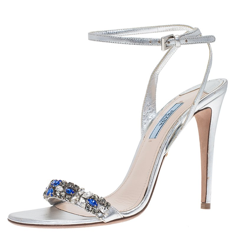 6aecf21f2010 Buy Prada Silver Metallic Leather Jeweled Ankle Strap Sandals Size ...