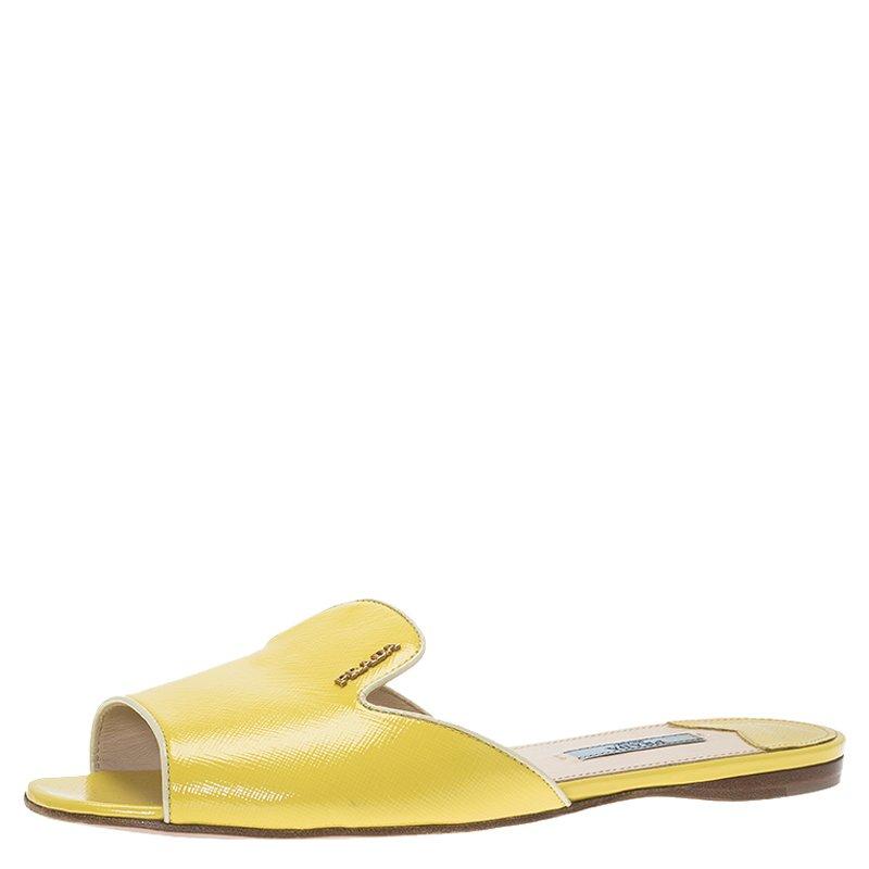 043fa0e7e2c1 Buy Prada Yellow Patent Saffiano Leather Flat Slides Size 38.5 68645 ...