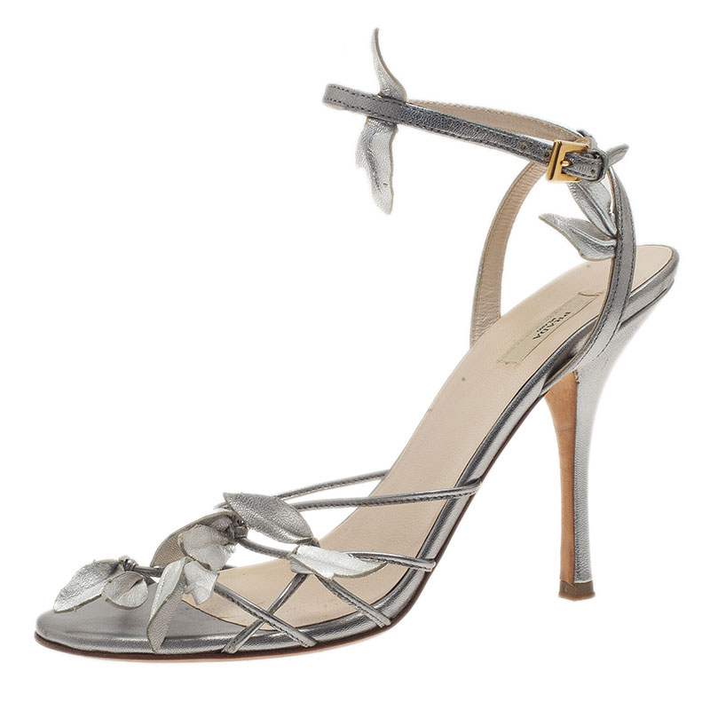 8a526623f7b65 ... Prada Silver Leather Leaf Strappy Sandals Size 37.5. nextprev. prevnext