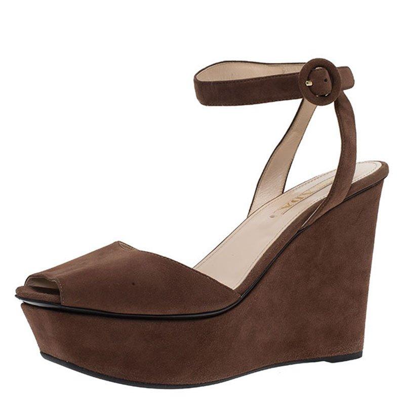5d0d2b078df ... Prada Brown Suede Ankle Strap Platform Wedge Sandals Size 39. nextprev.  prevnext