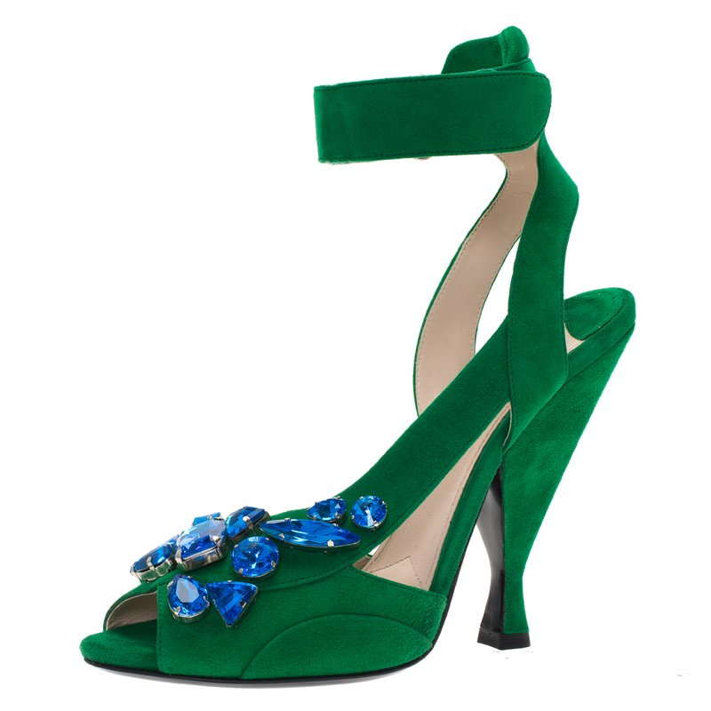 f1055482d70a Buy Prada Green Suede Jeweled Ankle Strap Sandals Size 39 70683 at ...