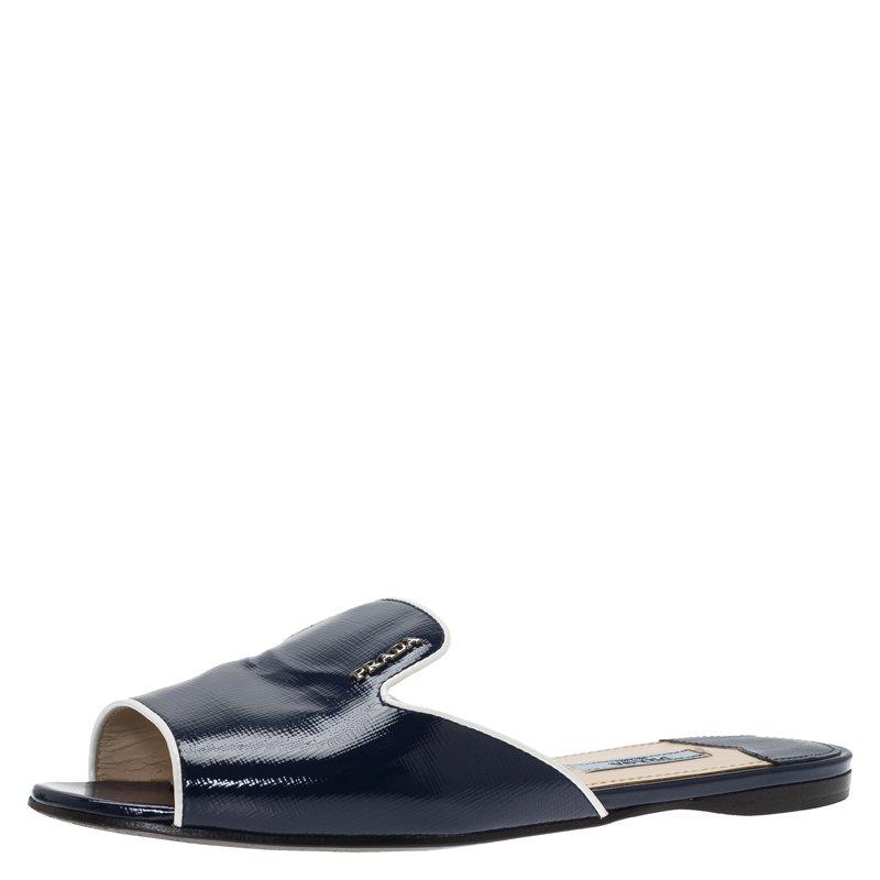 9291091bbcfb Buy Prada Blue Patent Saffiano Leather Flat Slides Size 37 79098 at ...