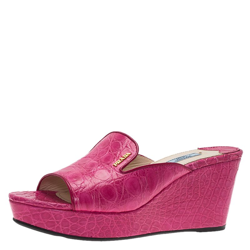 5d827f8a6072b ... Prada Pink Croc Embossed Leather Wedge Mules Size 39.5. nextprev.  prevnext