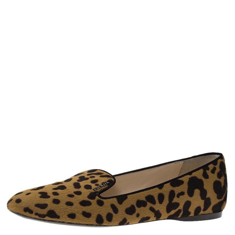 656183d635e4 Buy Prada Leopard Print Calf Hair Smoking Slippers Size 39 79848 at ...