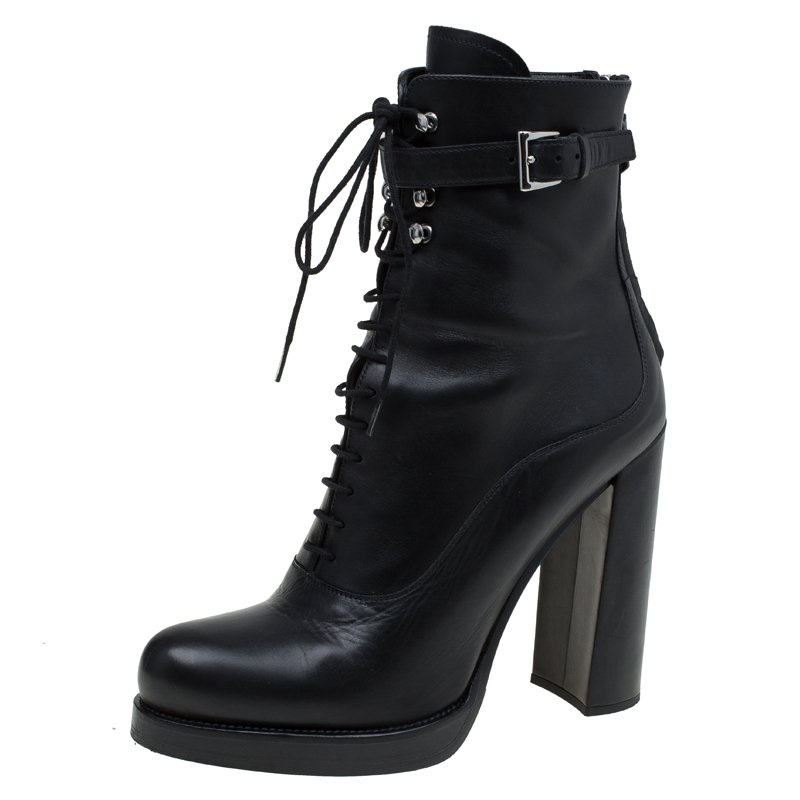 40d7e8a2 Prada Black Leather Block Heel Combat Boots Size 39