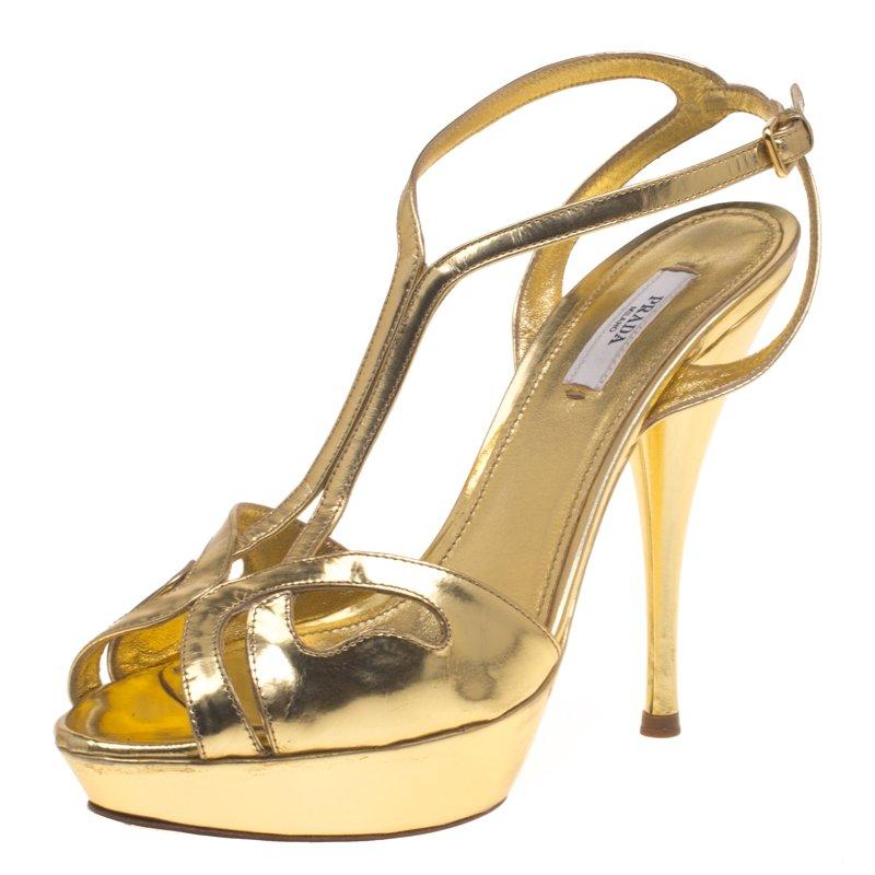91ae12be98a ... Prada Metallic Gold Leather T Strap Platform Sandals Size 38. nextprev.  prevnext