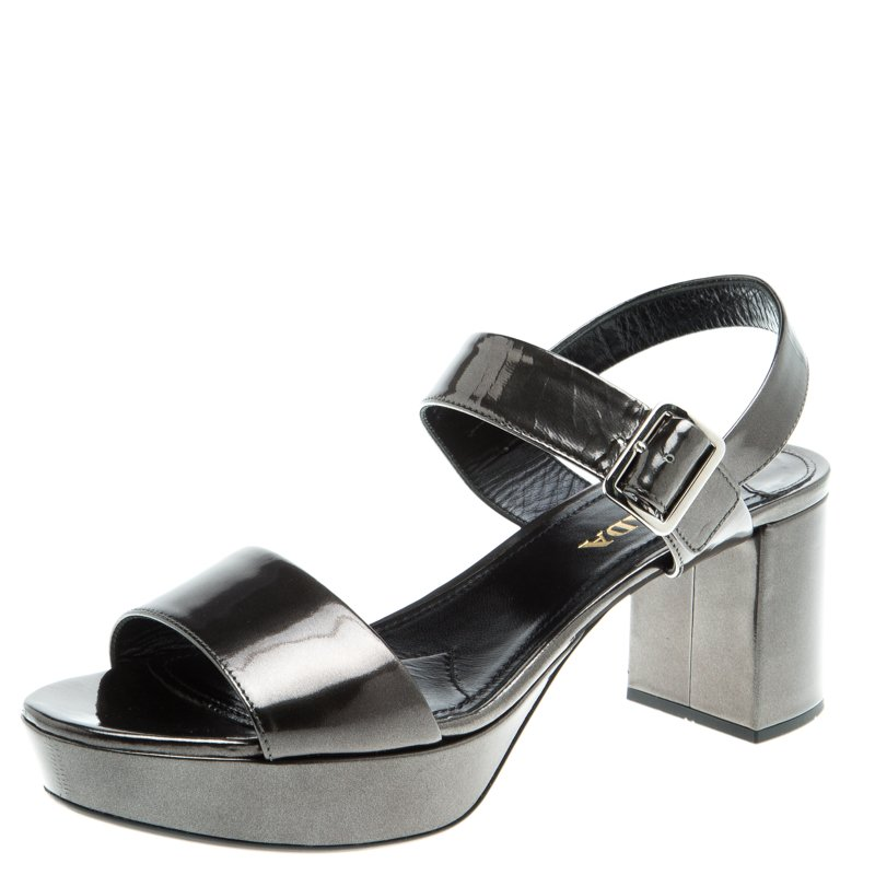 5974f037f17 ... Prada Grey Metallic Patent Leather Ankle Strap Block Heel Sandals Size  40. nextprev. prevnext