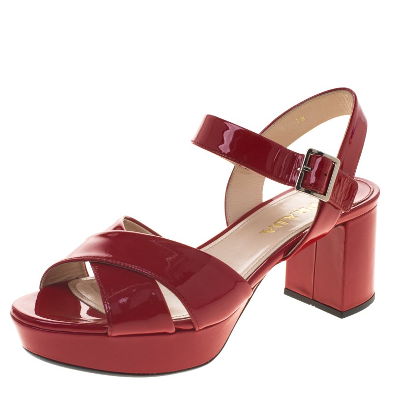 8599a5d7825 Buy Prada Red Patent Leather Criss Cross Ankle Strap Block Heel ...