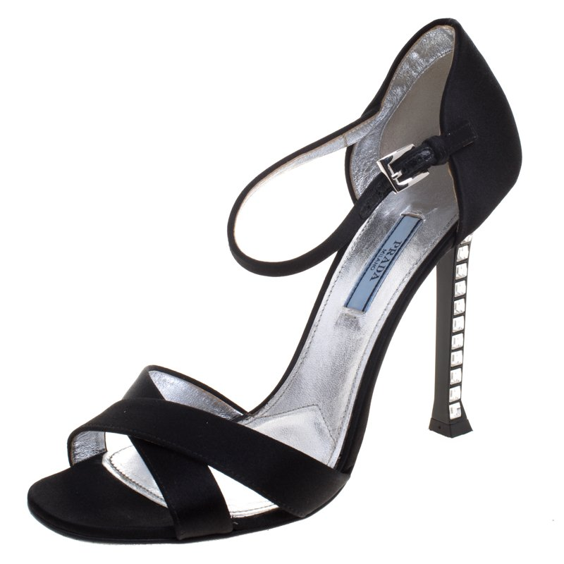 1dc6325f305 Prada Black Satin Jeweled Heel Criss Cross Ankle Strap Sandals Size 40