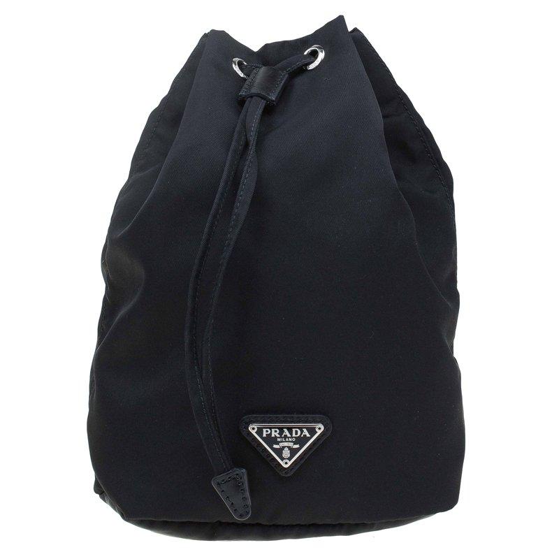 Prada Black Vela Cosmetic Drawstring Bag