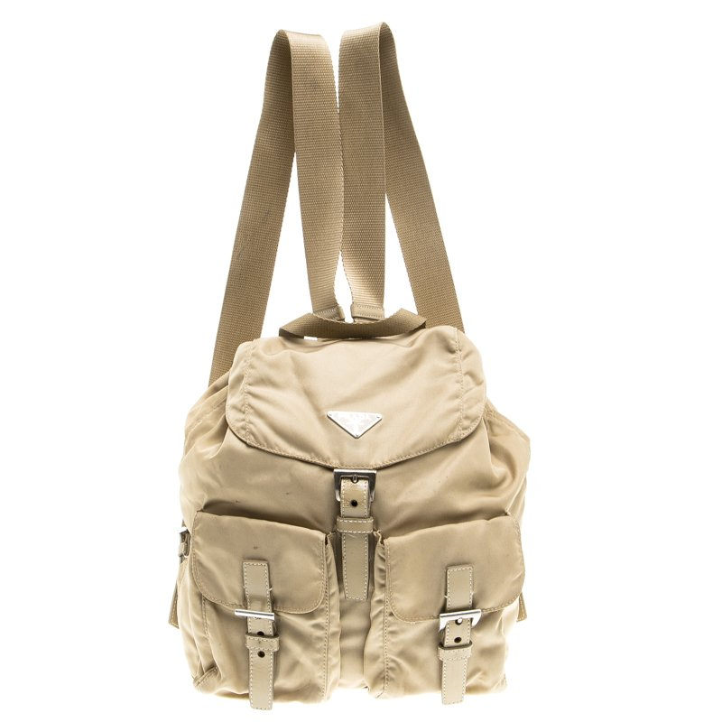 d36399559cba Buy Prada Beige Nylon Drawstring Backpack 97424 at best price