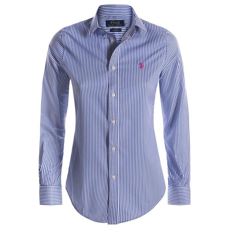 Polo Ralph Lauren Blue/White Striped Logo Long Sleeve Shirt M