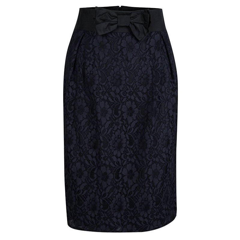 7c62dcd72645 Buy Red Valentino Black and Navy Blue Lace Top and Skirt Set S/M ...